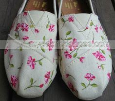 Flowers Fresh Floral Hand Painted Shoes Slip-on Painted Canvas S,Slip-on Painted Canvas Shoes