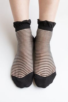 Women New Hezwagarcia See Through Mega Sheer Frill Ruffle Black Color Stripe Pattern Nylon Ankle Socks Hosiery