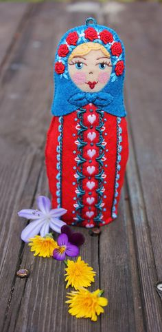 Matryoshka  with Valentine Hearts and Red by TheSnowQueensGarden, $49.50