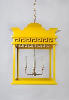 Yellow lantern with greek key trim