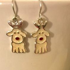Holiday Earrings, White Druzy Earrings, Holiday Earrings, White Dog Earrings, Holiday Jewelry, Holiday Animals, Holiday Fun Jewelry, by Dzdjewelry on Etsy