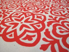 Items similar to Moroccan Tile, Hand Screen Printed Fabric, Fat Quarter on Etsy Cushions To Make, Red Cushions, Handmade Stamps, Hand Printed Fabric, Cool Fabric, Fabric Panels, Textile Design, Soft Fabrics, Moroccan