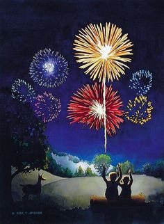 'Silver Meadows Fireworks' by Paul Jackson. This Paul Jackson watercolor is one of many landscapes painted from his trips around the globe. The artists' mastery of light, composition and energy make him one of America's most celebrated and. Fireworks Quotes, Fireworks Pictures, Fireworks Art, Fireworks Design, New Year Fireworks, Fireworks Video, Diwali Fireworks, Wedding Fireworks, Firework Tattoo