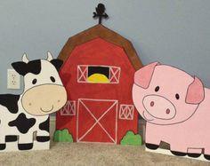 UN recortes de animales granja corral cumpleaños decoración