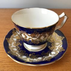 Aynsley Dark Navy Tea Cup and Saucer Cobalt Blue White and