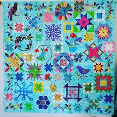 Quilt tops made from Sarah's 2016 Block of the month. Great spot for color inspirations.