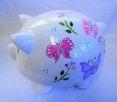 Personalized Piggy bank, piggy bank with butterflies, painted piggy bank, childrens piggy bank, nurs One Stroke Painting, Butterfly Painting, Personalized Piggy Bank, Plate Art, Craft Party, Cool Stuff, Stuff To Buy, Piggy Banks, Clip Art