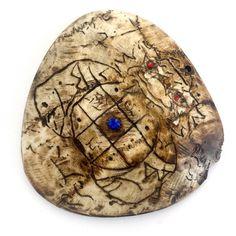 Pra Rahu Kala Ta Diaw Phueak One Eyed Albino Coconut Shell Eclipse God (Early Era) - Gemstone Inserts Hand Inscription - Luang Por Pina Wat Sanom Lao, $699 U.S.