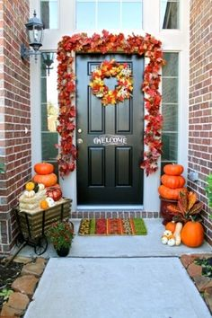 I took the fall garland from this picture and put it on my own door. Great idea!