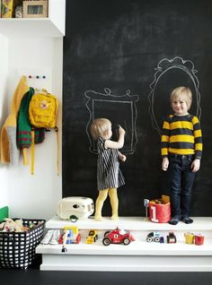 Children's chalkboard wall  Try MÅLA easel £16 Softwood/white. 500.210.76