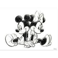 'Mickey and Minnie Sitting' Photographic Print on Canvas Disney Classics Disney Classics This decoration, especially made for children's rooms, sends them in the cartoon world. Mickey Drawing, Minnie Mouse Drawing, Mickey Mouse Kunst, Mickey Minnie Mouse, Mickey And Minnie Tattoos, Mickey Mouse Sketch, Mickey Mouse Drawings, Disney Canvas, Art Disney
