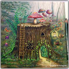 use from - Uhuuuuuuuu terminei.rs Floresta Encantada - Johanna Basford - Editora Sextante Materiais - Lápis de cor Polycolor e canetas gel. Enchanted Forest Book, Enchanted Forest Coloring Book, Coloring Book Art, Coloring Pages, Colouring, Adult Coloring, Fantasy Kunst, Fantasy Art, Fantasy Magic