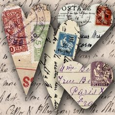 New -- Carte Postale Valentine Hearts -- piddix digital collage sheet no. 698. $3.00, via Etsy.