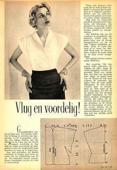 Easy pattern for a blouse, from Libelle 41, 1951 (a Dutch magazine)