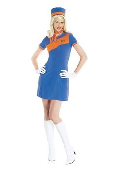 Paper Magic Women's Retro Stewardess Costume  Includes the dress, hat, and scarf Medium Shoes not included  -- #halloween2017 #costumes #stewardess #Airline