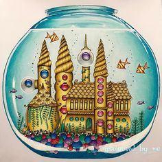 "225 Likes, 24 Comments - Selina💙✏️ (@coloured_by_me) on Instagram: ""My fishbowl with its golden castle and gemstone windows. This was my entry for the @johannabasford…"""