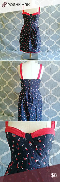 Charlotte Russe Pin Up Dress floral navy and red 6 Charlotte Russe Pinup style cotton navy and red floral dress size 6.  The top cup area is reinforced with some extra material as you can see in the pic.  Well loved but still has lots of life in it.  Pockets on the sides. The skirt sort of bubbles out from the waist.  Zipper in the back.  Tags: forever 21🔹 pin-up🔹 pinup🔹 pin up🔹 retro🔹 rockabilly🔹50s 🔹60s🔹 Charlotte Russe Dresses Mini