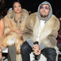 Couples that match together stay together! Check out Karrueche Tran and Chris Brown's matching furs! | toofab.com