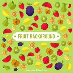 Green background with colored fruits Free Vector #graphicdesign #design #resources #vectors #art #digitalart #freepik #vector #illustration #illustrations #background #fruit #health #fruits #image #horizontal