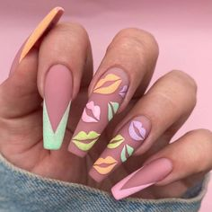 There is a range of nail designs that anybody can decide to have. Yet another thing, in the event you're hunting for a new trendy idea we recommend that you take our long nails design pictures under consideration. Nail art designs for extended nails Bright Summer Acrylic Nails, Best Acrylic Nails, Acrylic Art, Disney Acrylic Nails, Colorful Nails, Colorful Nail Designs, Nail Swag, Winter Nails, Spring Nails