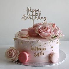 Birthday Cakes For Teens, 40th Birthday Cakes, Birthday Cake With Flowers, Cake Flowers, Torte Rose, Nake Cake, Macaroon Cake, Pear Cake, Floral Cake