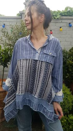 Your place to buy and sell all things handmade Redo Clothes, Clothes Crafts, Shirt Refashion, Linen Tunic, Hippie Outfits, Wool Sweaters, Cute Outfits, Earring Holders, Upcycled Sweater