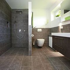 Walk In Shower Half bricked Upstairs Bathrooms, Grey Bathrooms, Small Bathroom, Master Bathroom, Basement Bathroom, Open Showers, Luxury Shower, Wet Rooms, Walk In Shower