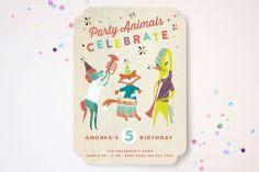 Festive Animals Children's Birthday Party Invitations
