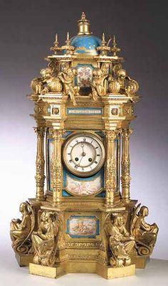 Sèvres Porcelain Gilt Bronze Mantel Clock -- 19th Century