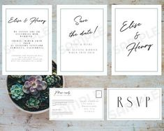 minimal beautiful wedding invitation download printable kit