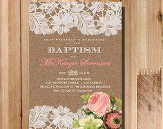Printable Baptism Invitation - Rustic Kraft and Lace Shabby Chic Christening Invite Cross Printable