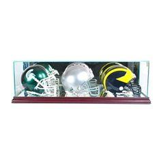 This Triple Mini Helmet Display Case is made of high quality glass and mirror.  #footballhelmet #football #helmet #NFL #collection #memorabilia #collectible #team #display #displaycase #PerfectCases #minihelmet