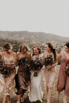 Palette and Bridesmaids Mixed Bridesmaid Dresses, Bridesmaid Outfit, Wedding Bridesmaids, Bridesmaid Dresses Australia, Wedding Decor, Boho Wedding, Dream Wedding, Wedding Ideas, Bridesmaid Inspiration