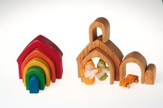 Amazon.com: Grimm's Rainbow Colored House 5-Piece Stacker - Wooden Nesting Puzzle/Building Blocks: Toys & Games