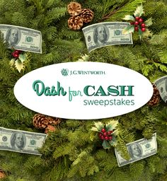 I just entered The Dash for Cash Sweepstakes from J.G. Wentworth!  You can too! Daily $100 winners & chances to win $500 on Bonus Days.