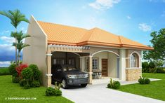 Hasinta is a bungalow house plan with three bedrooms and a total floor area of 124 square meters. Flat House Design, Modern Bungalow House Design, Bungalow Floor Plans, Home Design Floor Plans, My House Plans, Modern House Plans, Stone Front House, One Storey House, Affordable House Plans