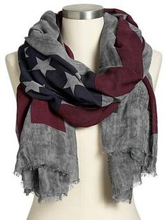 Womens Flag-Print Scarves-I wish I could pull off scarves. this is so cute.