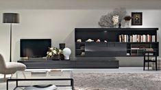 Contemporary TV wall unit / in wood / lacquered / Hi-Fi PASS by Nicola Gallizia Molteni & C Living Tv, Living Room Wall Units, Living Room Tv Unit Designs, New Living Room, Living Room Furniture, Living Room Decor, Living Spaces, Modern Wall Units, Contemporary Interior
