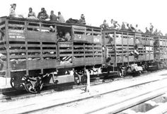 "Picture of the deportation of Armenians. The German director of the railroads referred to these transports as ""the bearers of culture."" Ten cars carried an average of 880 people."