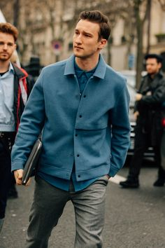 The Best Street Style from Paris Fashion Week : As the fashion marathon enters week two, here are our favorite looks from Paris, from extra-chunky sneakers to extremely touchable topcoats. Cool Street Fashion, Look Fashion, Trendy Fashion, Mens Fashion, Paris Fashion, Fashion Outfits, Fashion Tips, Blue Suede Jacket, La Mode Masculine