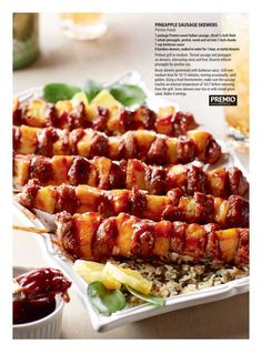 Pineapple Sausage Skewers - Costco Connection May 2017 Sausage Kabobs, Bacon Sausage, Sausage Recipes, Pork Recipes, Costco Recipes, Bbq Skewers, Veggie Skewers, Pineapple Sausage Recipe, Sweet Italian Sausage