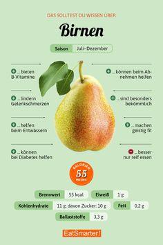 Das solltet ihr über Birnen wissen | eatsmarter.de #birne #infografik #ernährung