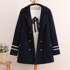 2251b590f9 Cheap Donne Doppio petto blu navy stile preppy cappotto di lana Del Ricamo  delle donne di