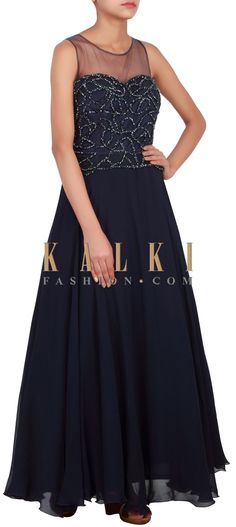 Buy Online from the link below. We ship worldwide (Free Shipping over US$100) http://www.kalkifashion.com/catalog/product/view/id/14819/s/navy-blue-anarkali-suit-embellished-in-kardana-only-on-kalki/