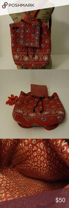 Vera Bradley  Floral backpack Red, black and white Vera Bradley backpack. Excellent condition. Vera Bradley Bags Backpacks