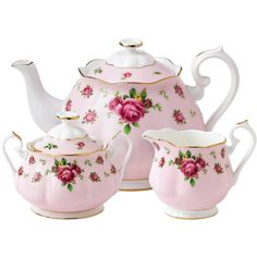Royal Albert 3 Piece Pink New Country Roses Vintage Tea Set found on Polyvore