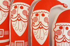 Retro Screen Printed Toy Santa by Jane Foster