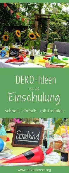 Deko-Ideen für die Einschulung. Effektvolle aber einfache Ideen mit Druckvorlagen!