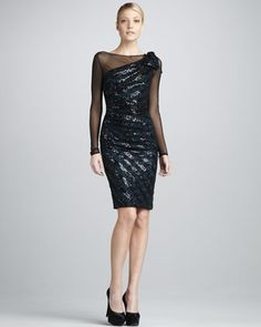 Sheer Illusion Long-Sleeve Dress by David Meister at Neiman Marcus.
