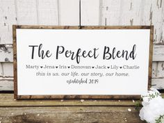 Perfect Blend, Personalized This Is Us, Name Sign for Blended Families, Adoptions and Weddings with Established Date Last Name Signs, Family Name Signs, Family Wooden Signs, Custom Wooden Signs, Canvas Letters, Canvas Signs, Framed Canvas, Love Signs, Diy Signs